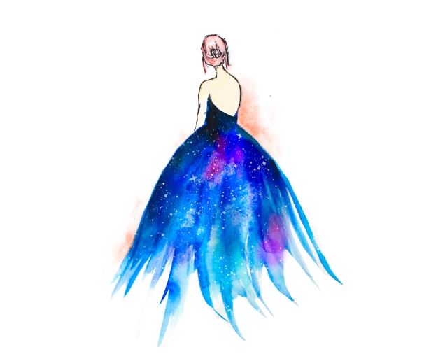 painting galaxy fashion dress
